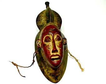 Ethiopian Wood Tribal Mask - Hand Carved and Painted - Vintage Wall Decor - African Art
