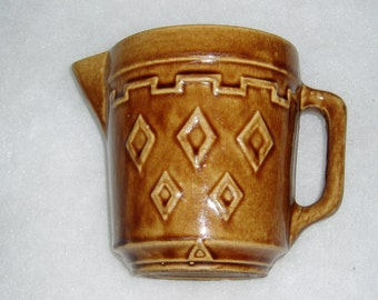 Antique Stoneware Pitcher, Diamond Pattern, Western Monmouth, 1930's-40's