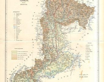 1897 Original Antique Dated Map of Zemplén County, Austro-Hungarian Empire