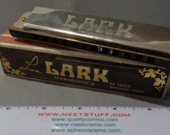 Vintage, LARK HARMONICA, 1960s/70s, Trem style tuning, wood comb, 12 hole, key of C,Shanghai,M 1202