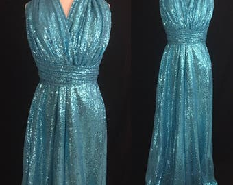 Sequins Aqua Blue Maxi Dress ... Floor Length Convertible Dress...50 Colors... Bridesmaids, Wedding Dress, Prom Dress, Beauty Pageant Dress