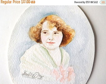 CLEARANCE SALE Vintage Portrait Watercolor Artisan English Victorian revival Home Decor Frame Great Gift
