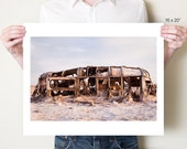 Salton Sea photography print, abandoned Airstream trailer fine art photograph. Post apocalyptic SoCal art. Large format artwork by Tom Bland