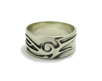 Sterling silver ring 9mm band solid 925 pendant
