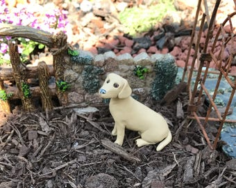 Dollhouse 1:12 scale Yellow Lab Polymer Clay Sculpture