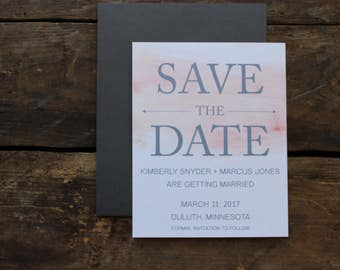 Watercolor Save the Date Wedding Invitation / Rustic Save the Date / Calligraphy Script Rustic / Magnet Invitation