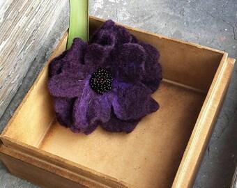 Purple plum hand felted flower brooch