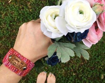 Christian Bracelet, Custom Hand Stamped Pink Cuff Bracelet, Inspirational Jewlery, Wrist Tattoo Cover
