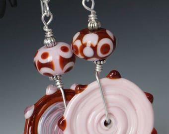 Asymmetrical Bubblegum Pink Red Glass Lampworking Sterling Silver Earrings