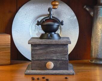 Mechanical Coffee Grinder - Mechanical Coffee Mill - Fresh Ground Coffee - Handmade wooden base - Burr Grinder - Foodie -CG104