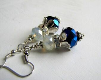 Vintage Opal Earrings Blue Swarovski Earrings Victorian Jewelry 1920's Earrings Art Deco Nouveau Romantic Jewelry Downton Abbey Earrings