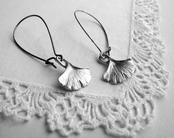 Silver Gingko Leaf Earrings Rustic Jewelry Nature Inspired Earrings Boho Earrings Small Leaf Casual Earrings Fashion Earrings Boho Fashion