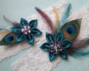 Peacock Wedding Garter Set, Teal & Purple Garters, White Lace Garter, Something Blue Garter, Kanzashi, Alternative Gatsby Bride, Keep-Toss