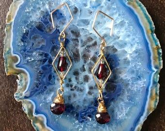 Diamond and drop earrings