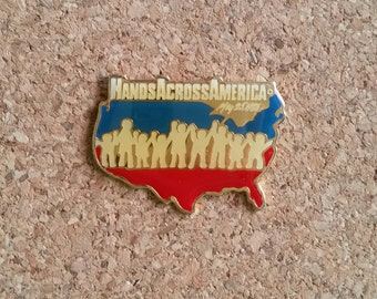 Hands Across America Vintage Enamel Pin | United States | May 25, 1986 | Holding Hands | Benefit | Logo | Cloisonne | Lapel
