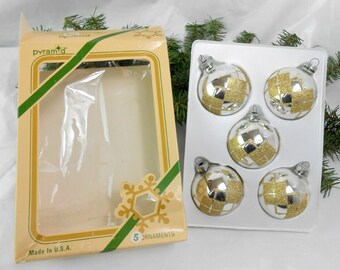 Vintage glass Christmas ornaments silver and gold and silver balls geometric design gold glitter Satin Sheen Rauch Ind Pyramid decorative