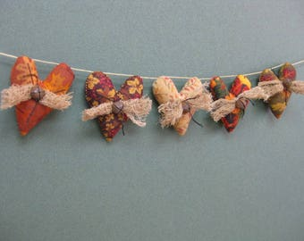 Fall Mini Heart Garland - 5 Primitive Grungy Fabric Small Stuffed Hearts - Primitive Autumn Decor - Fall Garland