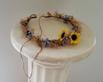Set of 2 Sister flower crowns photo shoot prop dried floral siblings hair wreaths white daisy yellow sunflower halos blue