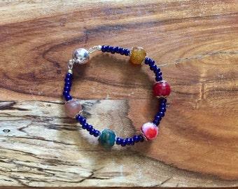 Samantha Bracelet in Earth Tones and Navy Blue. semiprecious gemstone stones semi precious natural stone jewelry boho bohemian jewellery
