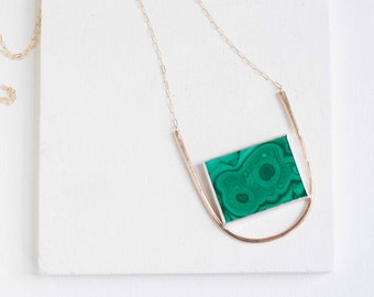 Malachite Rectangle Arc Necklace | 14k Gold Fill + Sterling Silver | One of a Kind