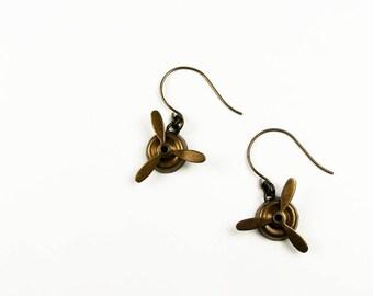 Propeller Earrings Inspired by Amelia Earhart (Airplane Jewelry for Pilot, Traveler)