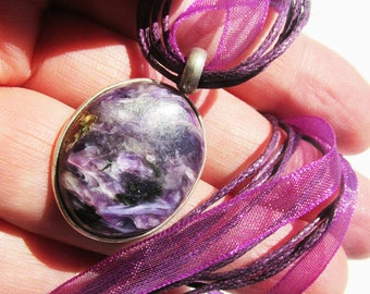Special Sale, Small and Beautiful Russian Charoite Necklace,  925 Silver,  One of a kind