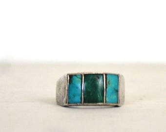 Turquoise Silver Ring - 1970s Vintage Ring - Chunky Gemstone Ring - Wide Band - Blue Green Turquoise - Size 7.5 / 17.7 mm