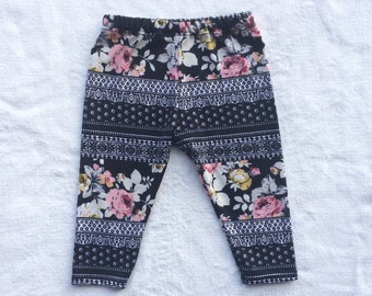 SALE Black and White, Pink, Yellow, Mustard, Floral, Flower, Baby Girl, Knit Leggings Pants