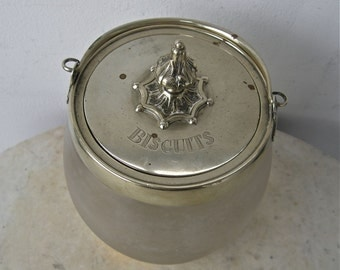 Opaque GLASS BISCUIT JAR Barrel Silver Plate Handle & Bindings Peaked 8 Star Finial Cookie Kitchen Collectible Jar Edwardian England 1930's