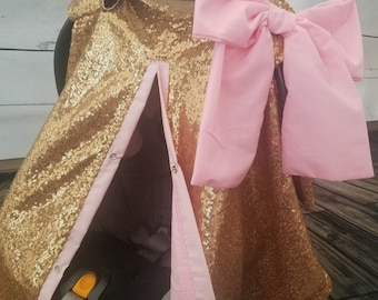 Carseat Cover Elegant Gold Sequin Cover with Large bow carseat canopy girl Shimmer nursing cover carseat canopy