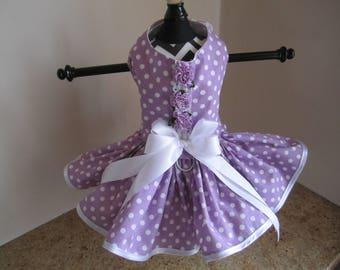 Dog Dress  Lavender with White Polkadots