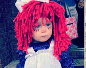 Raggedy Ann Large Hair Red Wig Girl Baby Clown Dress Up Clothes Pageant Hair Costume Photo Prop Halloween Circumference 17, 18, 19 inches