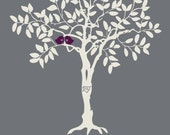 Custom Love Birds Wedding Invitation Digital Table Numbers and Signature Guest Book, Gray and Purple, Custom Listing for Shannon Baldwin