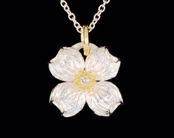 Sterling Silver Dogwood Flower Blossom with 18k Yellow Gold and Diamond Center Pendant (Optional Chain)