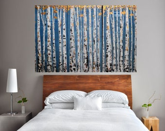 MADE TO ORDER: BlueGrey Multi Panel Woodland Cabin Nature Aspen Birch Tree Triptych with Metallic Leaves Fall Autumn Decor