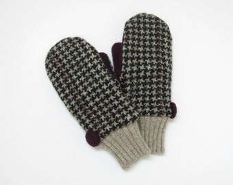 Wool Mittens Fleece Lined Taupe and Black Houndstooth Check Felted Wool Sweater Mittens