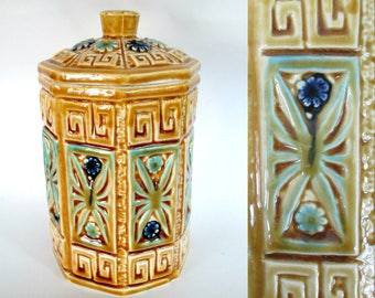 Japan Ceramic Greek Key Canister // Vintage Home Storage Mid Century Kitchen Bathroom