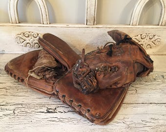 1950s Cooper Leather Hockey Goalie Gloves - Rustic Decor - Game Room, Man Cave Decor
