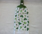 Hanging Double Kitchen St Patricks's Day Towel  Shamrock Towel Crochet Hanging Kitchen Towel