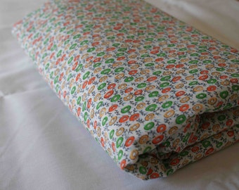 Vintage Flower Fabric sold by the yard Orange Green White Retro 50s 60s 70s retro fabrics pinup gift for seamstress couture