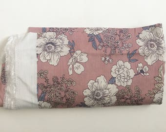 Blush Pink Floral Crepe Fabric