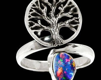 Size 8. Beautiful Wellspring of Fire Rich Australian Opal Natural Doublet. Solid Sterling Silver Ring 5087