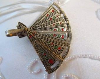 Asian Style Enameled Fan Pin Pendant Brooch, Vintage Moveable Pin