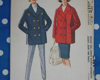 Vintage Pattern c.1962 McCall's No.6491 Jacket,Skirt,Pants Size 12, Uncut