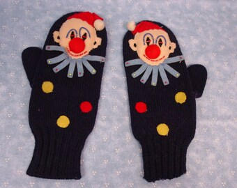 Vintage Child's Mittens with Hand Work Clowns, So Cute