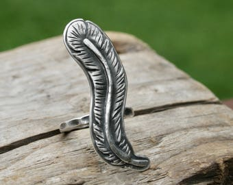 Sterling Silver Feather Ring. Boho fashion jewelry. Rustic textured Realistic plume Bird hand forged Silversmith metalwork