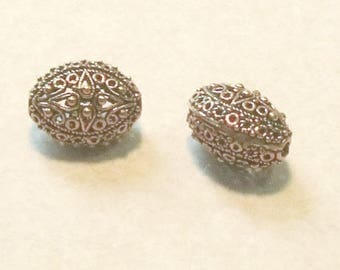 Large Copper Filigree Oval Bead - Bali Style - 16X20mm - Two Beads