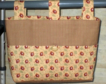 Adult Woman Walker Bag Tote Caddy Purse –  Brown Beige Miniature Stripe Cotton Bag, Beige Rust Floral Pockets 3 Straps Lining, Beige Button