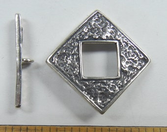 Sterling Silver Toggle Clasp, diamond with texture, one clasp set, (SSC-16)