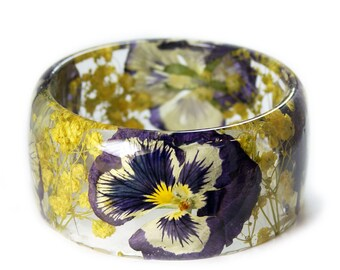 Purple Flower Bracelet- Yellow Bangle- Purple Bracelet- Resin Jewelry- Yellow Resin Jewelry- Flower Bangle- Purple Resin Bracelet